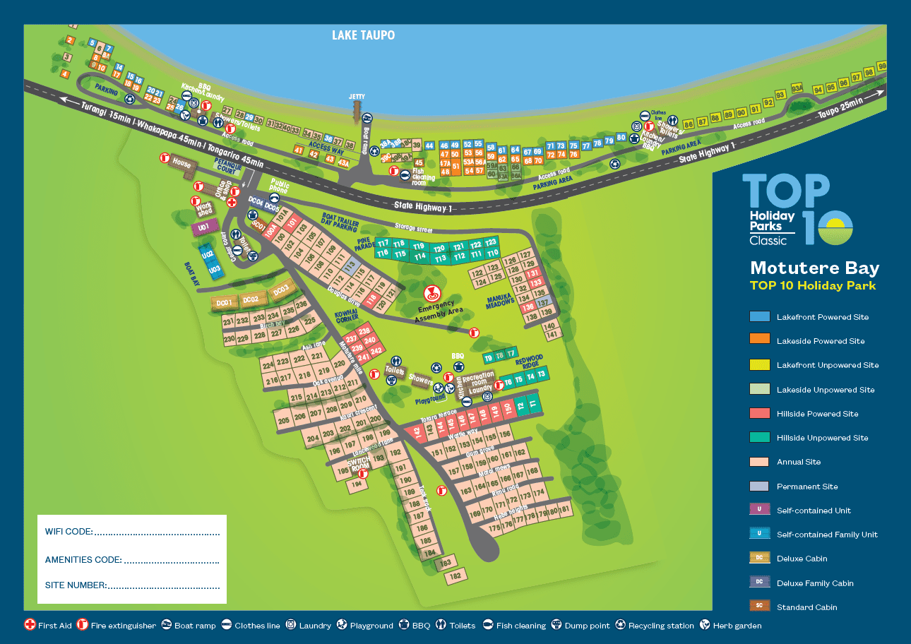 Map Of Taupo New Zealand.Park Map Motutere Bay Top 10 Holiday Park